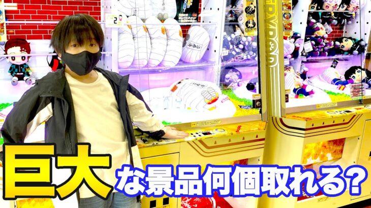 【1万円】クレーンゲームで巨大な景品何個取れる?わたる絶叫www