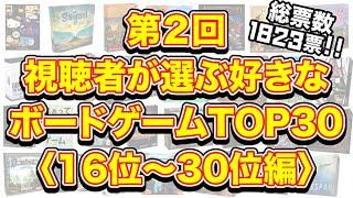 第2回視聴者が選ぶ好きなボードゲームTOP30【16位~30位編】